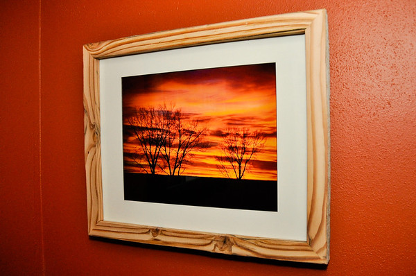"""""""Christmas Sunset #2"""" taken 12-25-11, south of Jamestown, ND on Hwy 281.<br /> <br /> 11"""" x 14"""" Print, 17"""" x 21"""" outside frame size"""