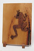 Cherry wood - Frog cut from background and stained darker to contrast with background