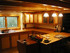 Cherry and maple kitchen. Maple butcher-block countertops.
