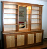 Living room display cabinet. Cherry and curly maple.