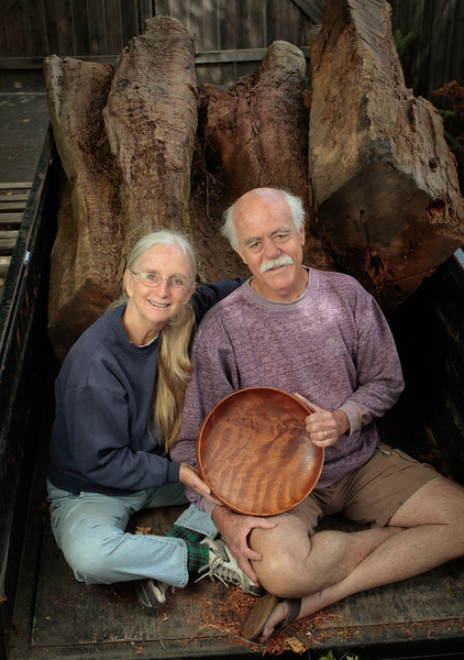 Jerry and Deborah Kermode in their studio, where they create beautiful bowls out of reclaimed redwood stumps, leftover from harvesting. in Sebastopol, Calif., is seen on July 25th, 2011.