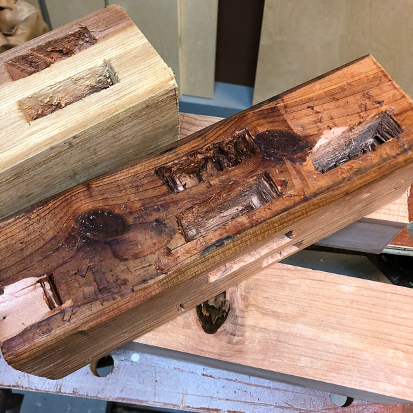 I have never cut mortises before, by hand or machine. So I practiced a bit on some off cuts. I learned a lot, including that my chisel was dull. Shiny, but dull.