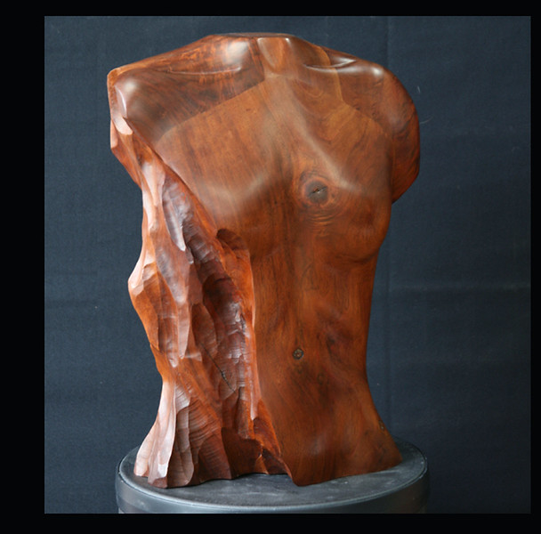 Walnut Wood Sculpture Female Torso  front