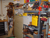 Power Tool Storage, misc storage, and the stack of tools to be refurbished in the back