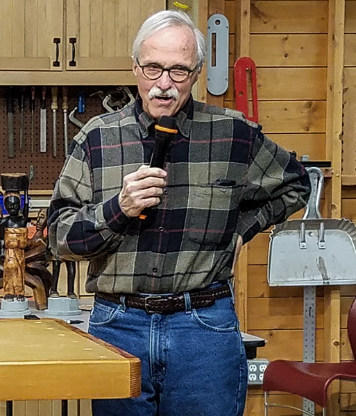Ron Hilliard showed a walnut box he made for his router bits.  Feb 2019