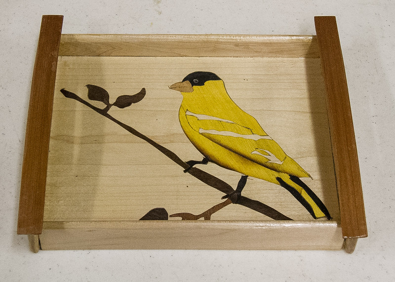 Ray Nelson used marquetry techniques he learned at the Marquetry Workshop to make this Tray and Wood Plane.  Sep 2017