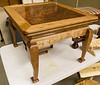 Ron Hilliard showed his Chinese style table that has a beautiful Camphor wood burled top.  Apr 2016