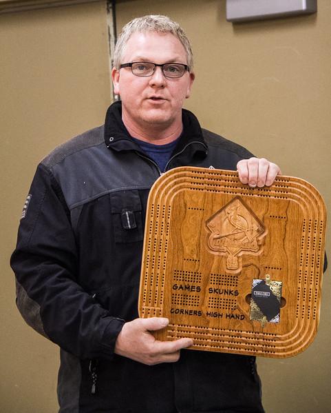 Matt Frideres made this Cribbage Board with a Cardinal Baseball Logo - Mar 2017