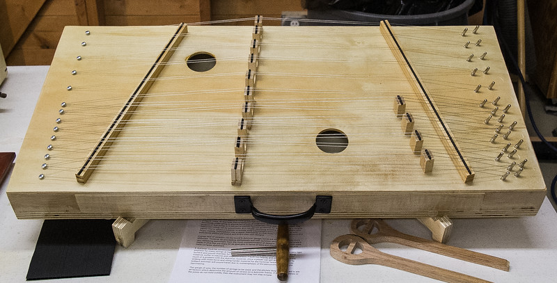 Susan Sevedge showed the musical instrument she made - It is a Hammered Dulcimer. She used Baltic Birch Plywood and Hard Maple.  Oct 2018