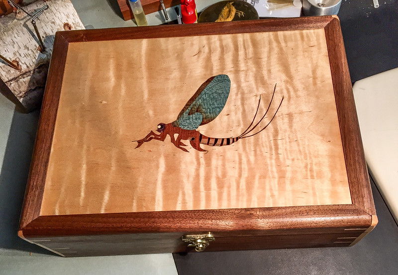 Bill Fanter showed his Fly Tying Box with Inlay  Nov 2018