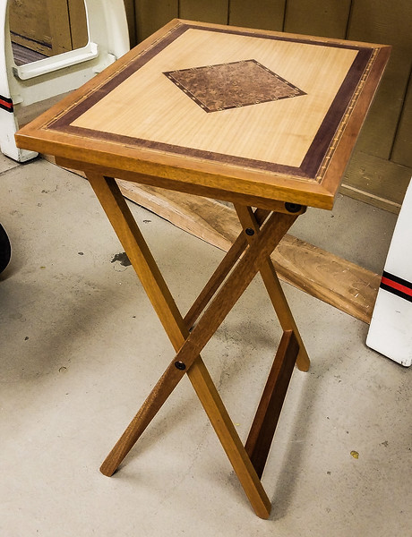 John Twedt showed his TV tray with inlay top and polished finish.  Nov 2019