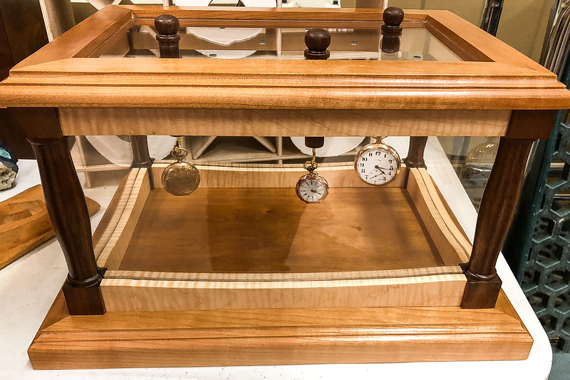 Phil Laudenklos showed his Pocket Watch Display Case.  May 2018