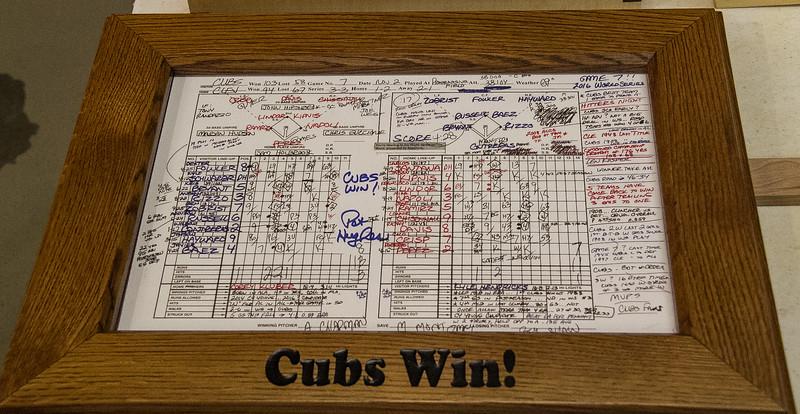 Brad Preston showed a Frame he made for  a Cub's Score Card.  Oct 2018