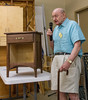 Art Hedberg brought a small table he restored after it was in a fire. Sep 2013