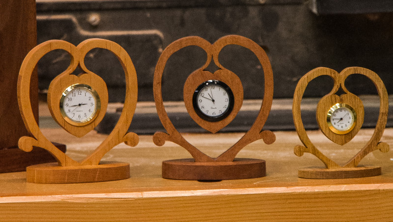 Susan Sevedge had several attractive clocks she made.  Mar 2014