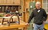 "Dave Grieve had his bent wood foot stool and answered questions about how he bent the 2"" walnut using steam and molds to form the legs. Jan 2014"