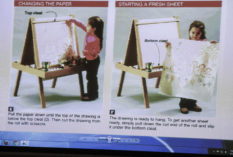 Bob Meyer showed a kid's easel he made as a Christmas present. He showed it on the meeting room Video Monitors since it is no longer in town.