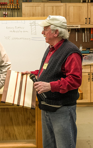 Tom McGuire showed his Cutting Board Class project and received a Class Completion Certificate.  Feb 2013