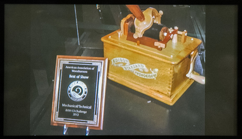 jerry Spencer showed a photo of a reproduction Edison phonograph that earned Best of Show at a Florida woodworking event he attended.    Feb 2014