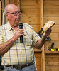 Leroy Monson brought four items he entered in the State Fair plus others. He earned a ribbon for a segmented bracelet he made. He had a turned walnut bowl, a box elder bowl and a Ipai bowl. He also had a peppermill made from a stump his grandson found and he had a winged mulberry bowl that he said sounded like an aircraft propeller when he was turning it. Very nice work! Sep 2013