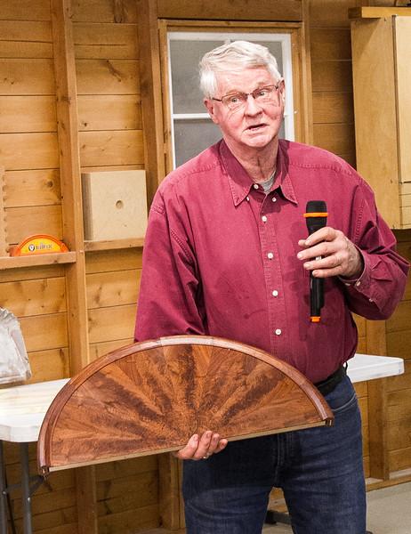 John Twedt showed his walnut veneering project - Apr 2017
