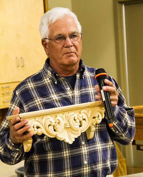 Bill Fanter showed his carved shelf made from bass wood.  Apr 2016