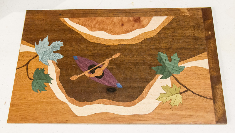 Shawn Brown showed his Marquetry Workshop project -  May 2017