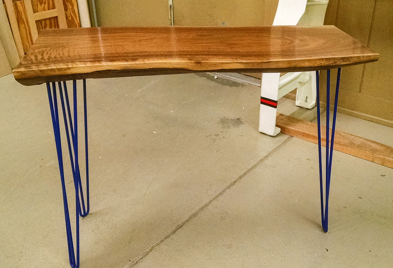 Ron Hilliard made this Walnut Slab Table with Metal Legs  Nov 2016