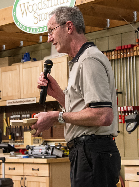 Butch McClintic showed a simple tool made from scrap wood and a few nails that he uses to find the center of boards. No need for a ruler or tape measure. Mar 2013