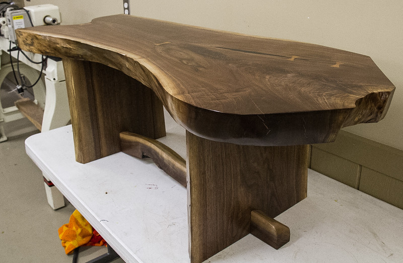 Dave Grieve showed his walnut slab top  coffee table. Oct 2016