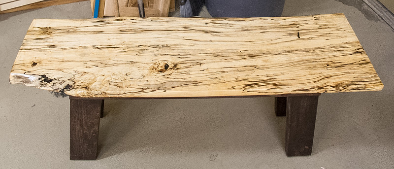 Rich Voss showed this spalted wood table he made.  Oct 2015