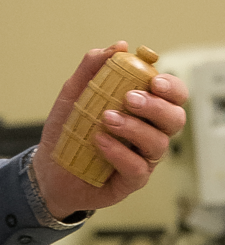 LeRoy Monson showed a toothpick holder that he turned. It was a birthday present for his brother-in-law.  Apr 2016