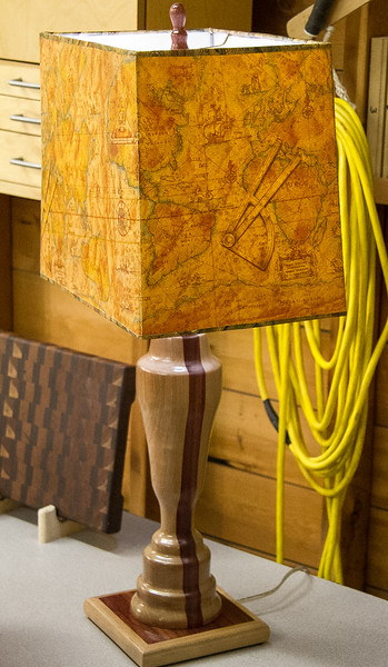 Murray Ellis showed a lamp he turned made from cherry and bloodwood. Mar 2013