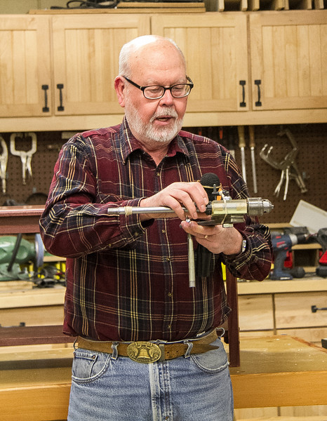 LeRoy Monson showed his jig / fixture for drilling precise holes on items turned on a lathe.