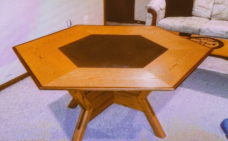 Jim Henry made this Game Table with removable top for easy storage. Feb 2015