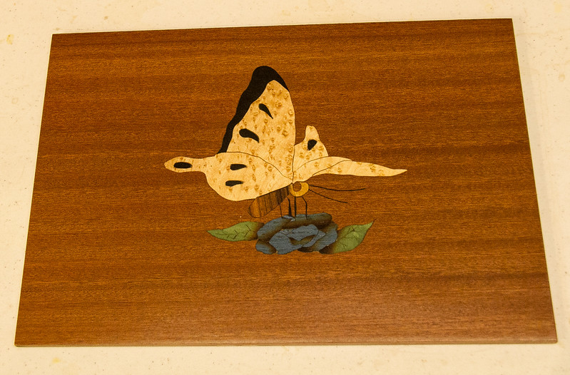 Dennis Craig showed his Marquetry Workshop project -  May 2017