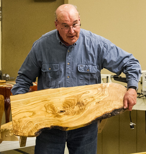 Rich Voss showed his Olive wood small table.  Apr 2016
