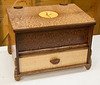 Russ Hansen made this small chest and ISU Plaque. Both include the use of marquetry - Sep 2017.