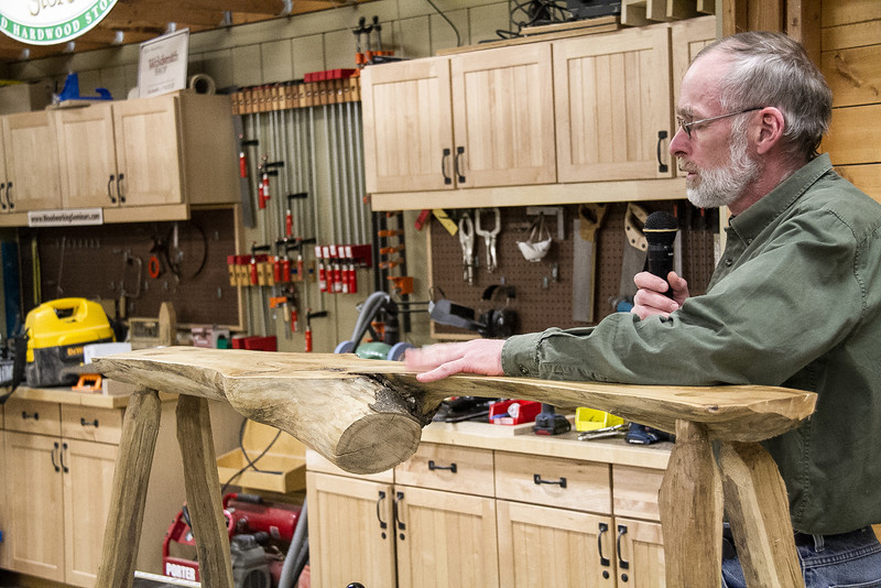 Dave Johnson showed his sugar maple split log bench he made from a tree he cut down.  Feb 2014