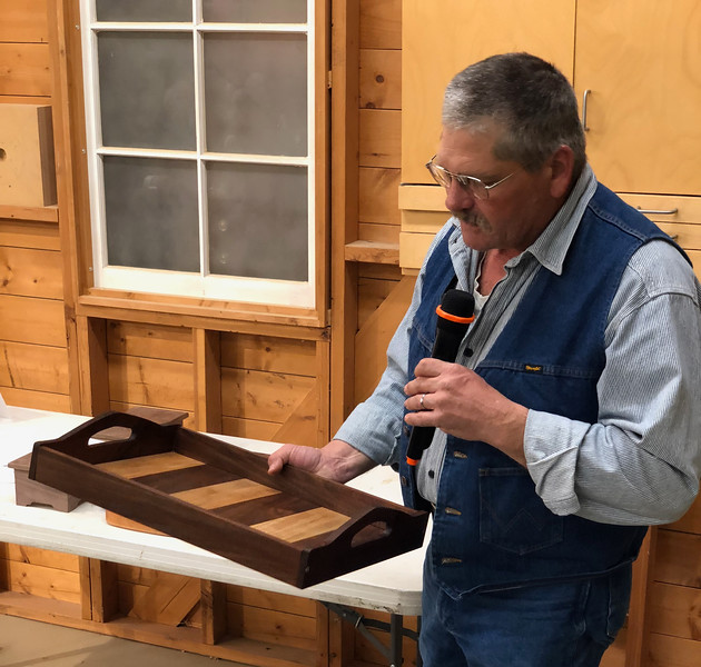 Randy Offenburger showed his serving tray.  Nov 2018