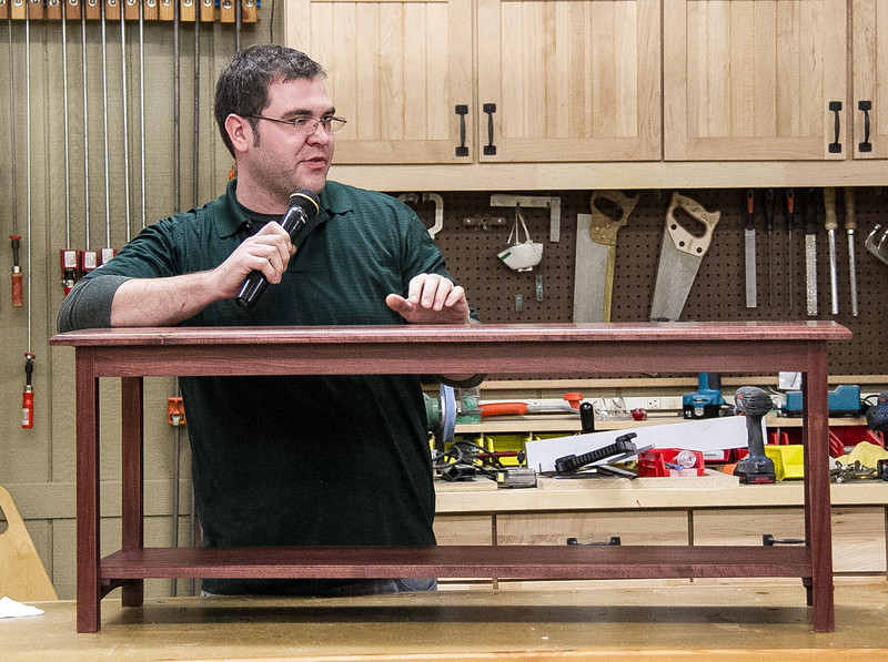 Ben Delong showed his bench made from poplar and stained with gel stain. A really neat project from a beginning woodworker.  Feb 2014