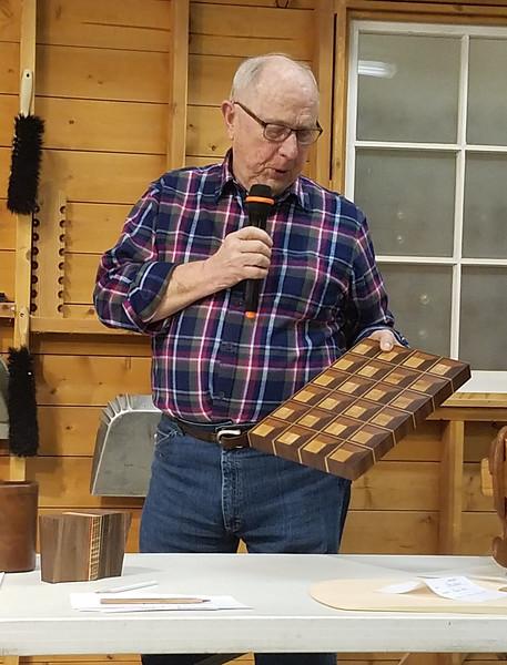 Bob Scott made this  three D Butcher Block from walnut, cherry and maple  Feb 2020