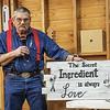 Randy Offenburger showed a Décor Sign he made that has a panel look like wood rough sawed  Jan 2020