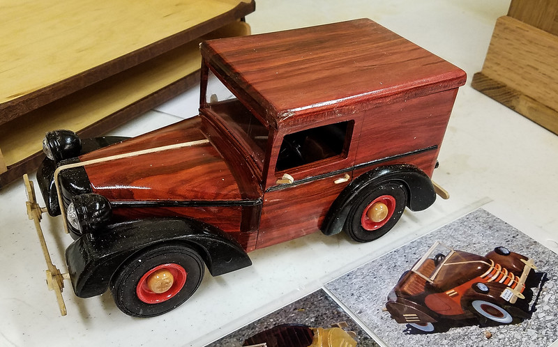 Francis Youngblut showed his Model of a Bantam Panel Truck made from red heart and maple  Jan 2020