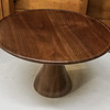 Eugene Harms showed his  Walnut Cake Stand with a bees wax finish  Jan 2020