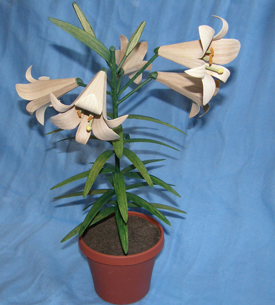 Easter Lilys. Specialy treated White Ash allows it to bend and hold shape. The entire plant is White Ash. Scroll saw and belt sander are used to shape each petal before bending. The wood will not bend in two directions at the same time.  Approximately 3 to 5 days of work. Green stain was used on the stalk and leaves.