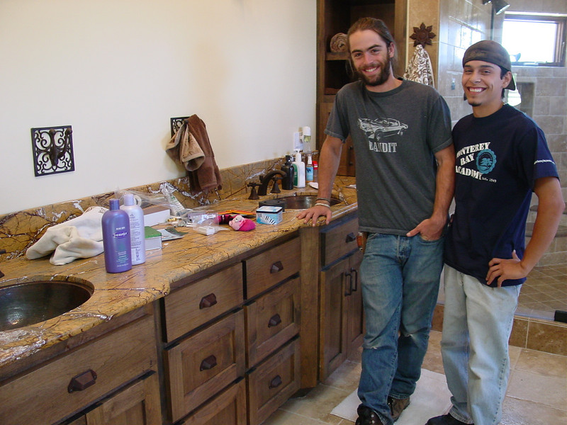 Matt and Alex with alder vanity they built