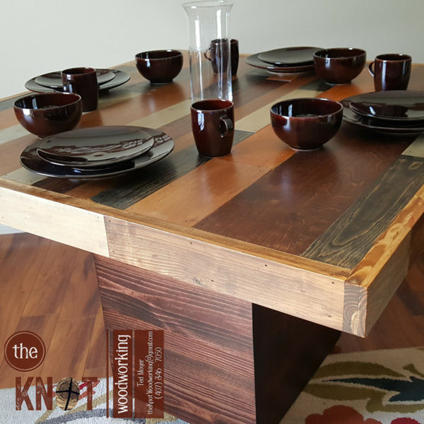 pallet wood dining table close-up
