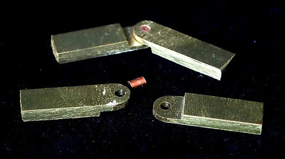 Hinges from brass bar stock and electrical wire