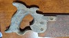"""Warranted Superior 14"""" backsaw, looks suspiciously like an 1867 Richardson, two of the split nut bolts are broken off, slight check, not through, on the handle"""